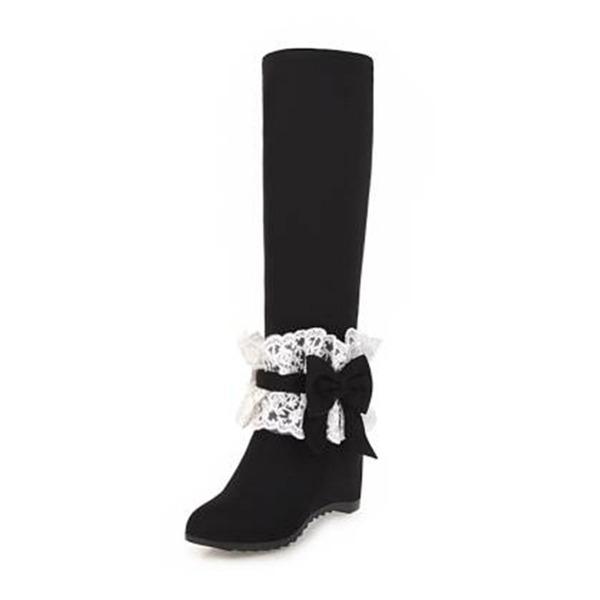 Mulheres Camurça Plataforma Botas Bota no joelho com Bowknot Ruched sapatos