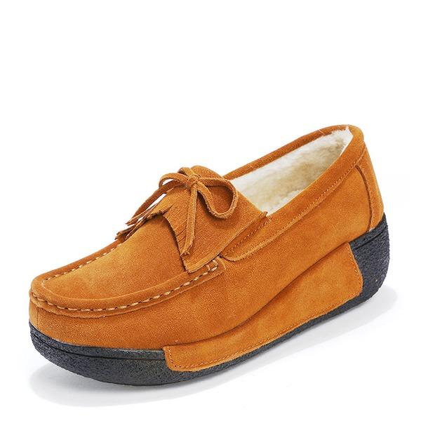Kadın Süet Dolgu Topuk Platform Kapalı Toe Takozlar Ile İlmek Püskül ayakkabı