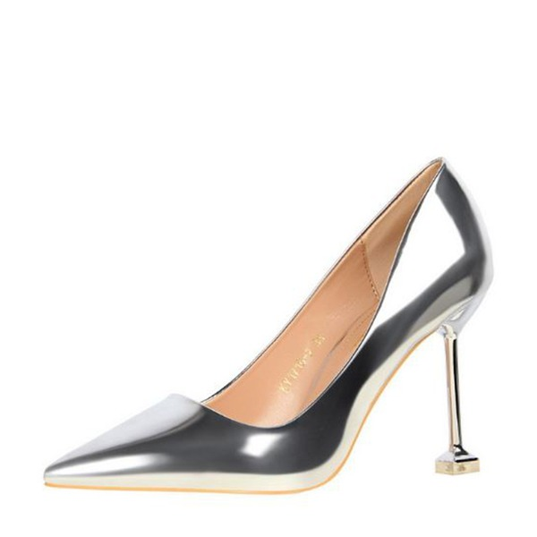 Women's Patent Leather Stiletto Heel Pumps Closed Toe With Others shoes