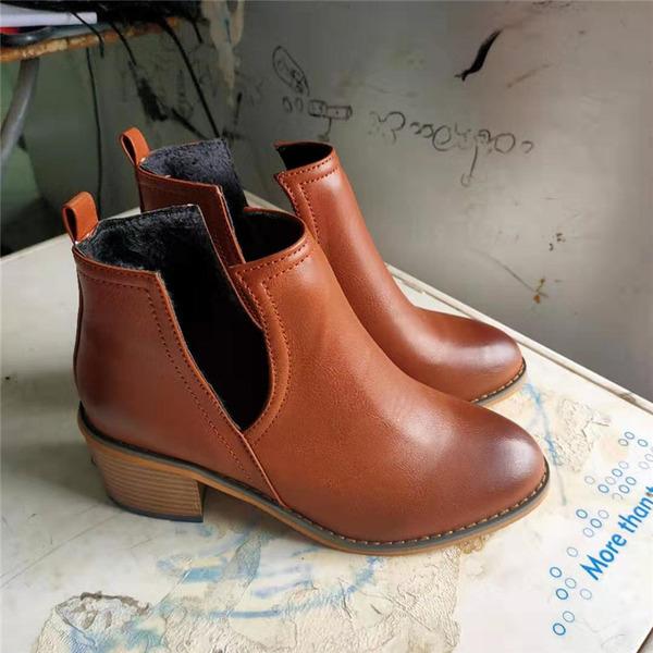 Naisten PU Chunky heel Kengät jossa Split yhteinen kengät