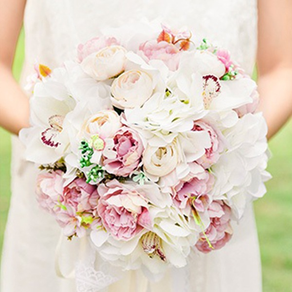 Desabrochar Redondo Flor de seda Buquês de noiva/Buquês da nama de honra -