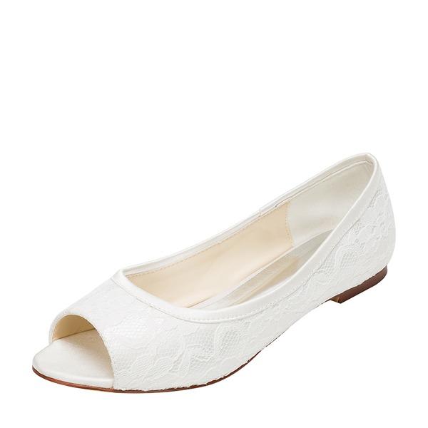 Women's Lace Silk Like Satin Flat Heel Flats Peep Toe