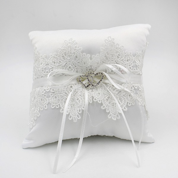 Elegant Ring Pillow in Lace/Polyester With Bow/Lace