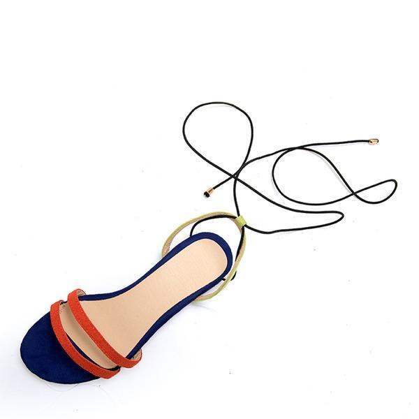 Kvinner Semsket Flat Hæl Sandaler Titte Tå med Blondér sko