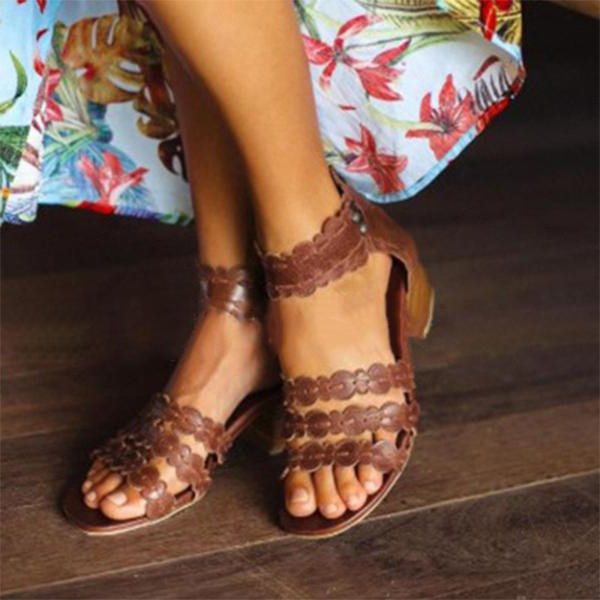 Naisten Keinonahasta PU Chunky heel Avokkaat Peep toe jossa Vetoketju kengät