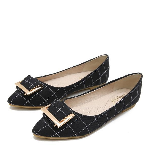 Kvinnor Duk Flat Heel Platta Skor / Fritidsskor Stängt Toe med Spänne skor