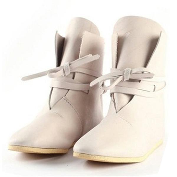 Vrouwen Kunstleer Flat Heel Enkel Laarzen met Vastrijgen schoenen