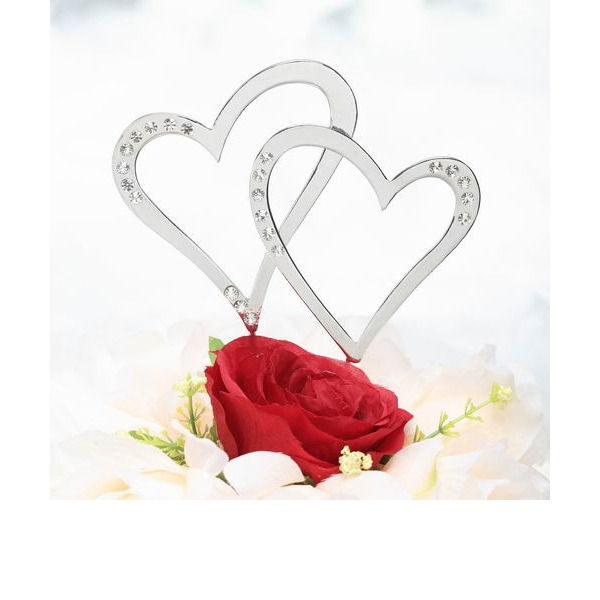 Double Hearts Chrome Wedding Cake Topper (Set of 2 pieces)