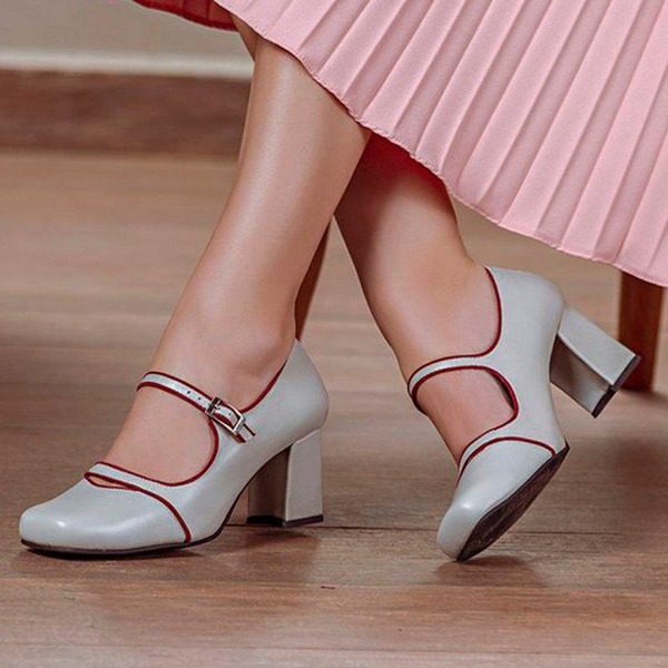Kvinner Lær Stor Hæl Pumps Lukket Tå med Spenne sko