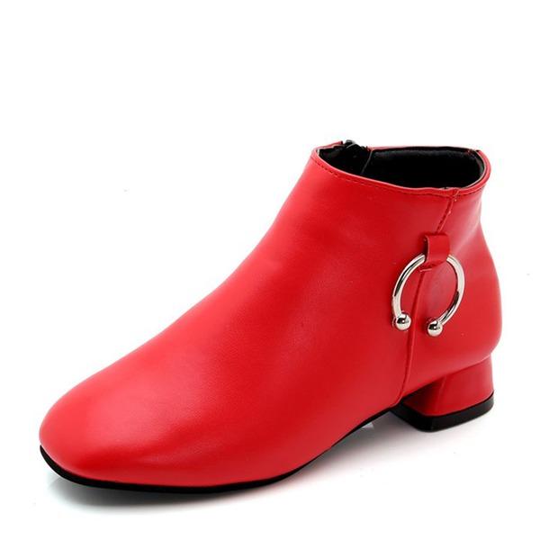Jentas Lukket Tå Ankelstøvler Leather lav Heel Støvler med Glidelås