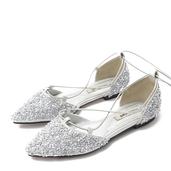 Mulheres Espumante Glitter Sem salto Sem salto Fechados com Aplicação de renda sapatos