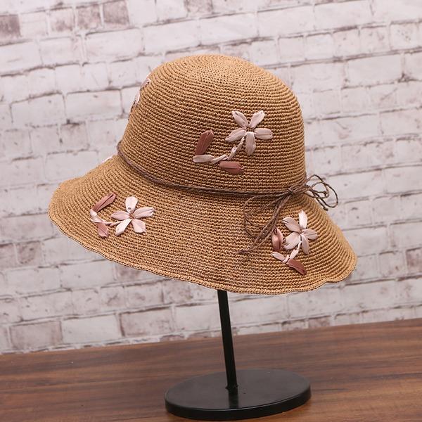 Dames Beau Papyrus avec Lin/Une fleur Chapeau de paille