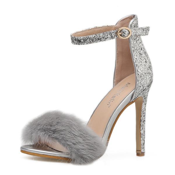 Donna Glitter scintillanti Tacco a spillo Sandalo Stiletto Punta aperta con Pelliccia scarpe