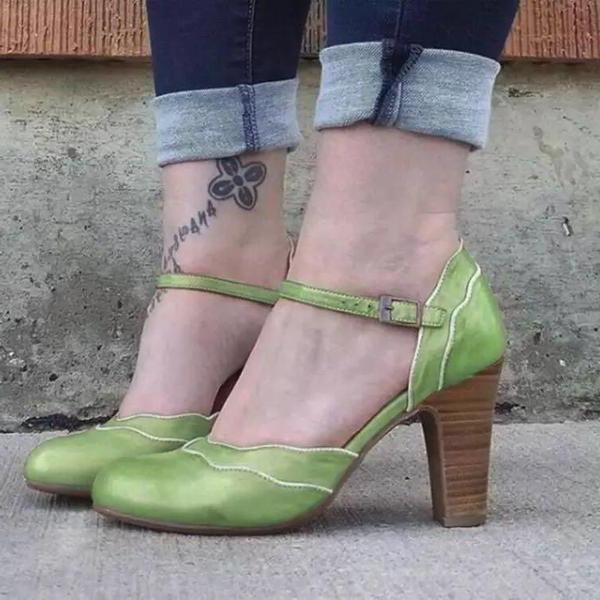Женщины PU Устойчивый каблук На каблуках с пряжка обувь