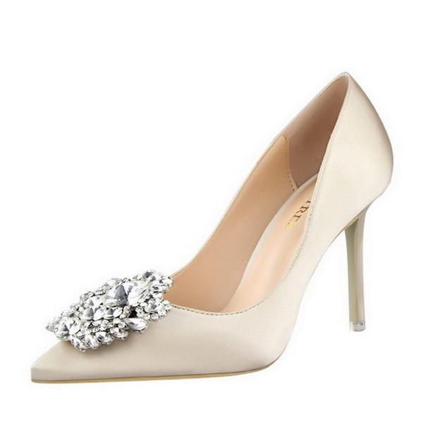 Kadın Saten İnce Topuk Pompalar Kapalı Toe Ile Yapay elmas ayakkabı