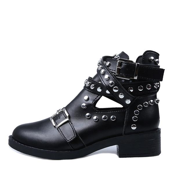 Donna PU Tacco spesso Stivali con Rivet scarpe