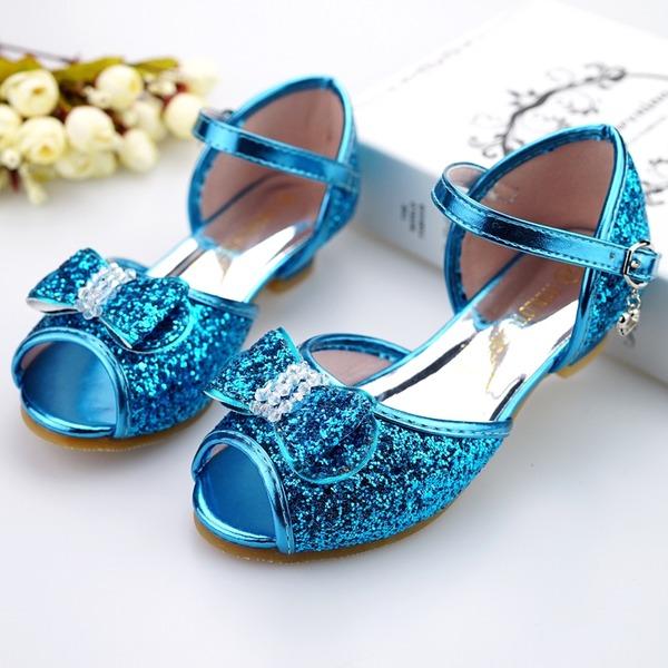 Flicka Peep Toe konstläder låg klack Sandaler Flower Girl Shoes med Bowknot Spänne Glittrande Glitter