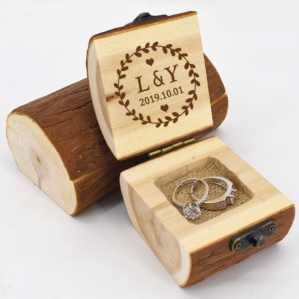Personlig/Rustikk Wood Ring Boks