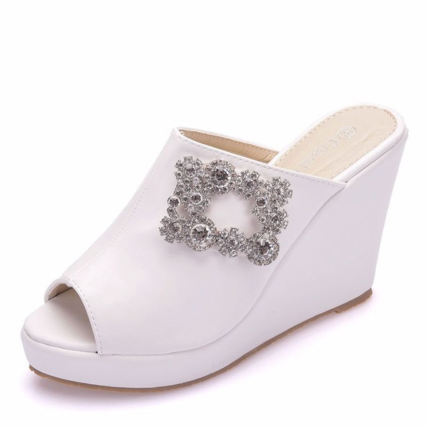 Women's Leatherette Wedge Heel Closed Toe Peep Toe Platform Sandals Wedges With Crystal