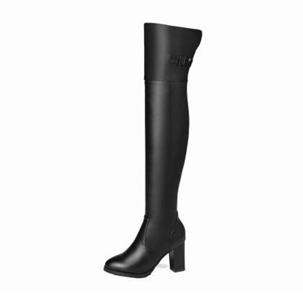 Mulheres PU Salto robusto Bombas Botas Bota em cima do joelho com Fivela sapatos
