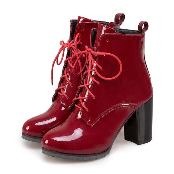 Vrouwen Kunstleer Chunky Heel Laarzen met Vastrijgen schoenen