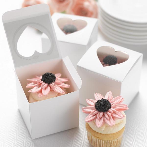 Herz Cut-outs Cubic Karton Papier Geschenkkartons & Container/Kuchen-Kästen (Satz von 12)