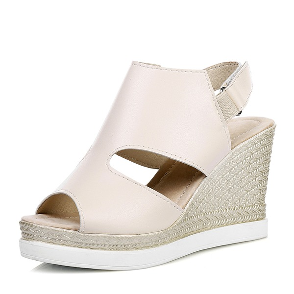 Kadın PU Dolgu Topuk Sandalet Takozlar Peep Toe Arkası açık iskarpin Ile Cırt Cırt ayakkabı