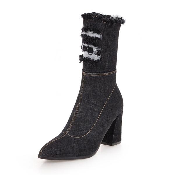 Kadın Denim Kalın Topuk Bot Mid-Buzağı Boots Ile Fermuar ayakkabı