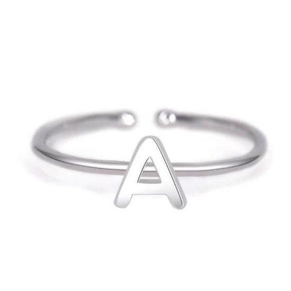 Personalizado Senhoras Chic 925 prata esterlina Inicial Anéis Ela/Amigos/Noiva/Dama de honra/Menina das flores