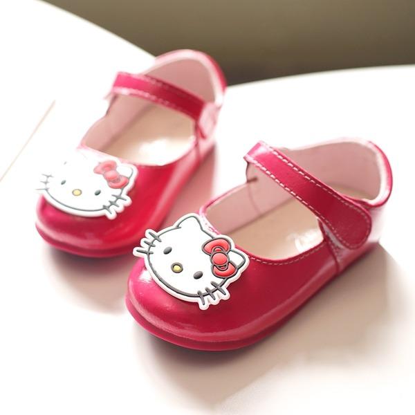 Fille de bout rond Bout fermé Cuir verni talon plat Chaussures plates Chaussures de fille de fleur avec Velcro