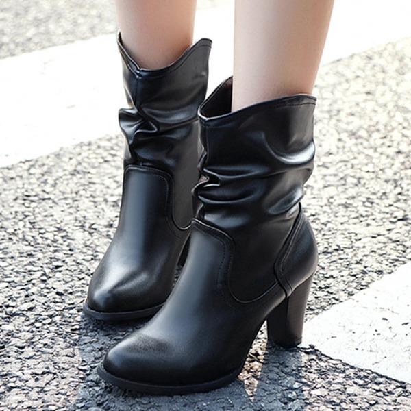 Kadın PU İnce Topuk Bot Ile Büzgü ayakkabı