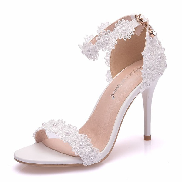 Women's Leatherette Stiletto Heel Peep Toe Pumps Sandals With Imitation Pearl Flower
