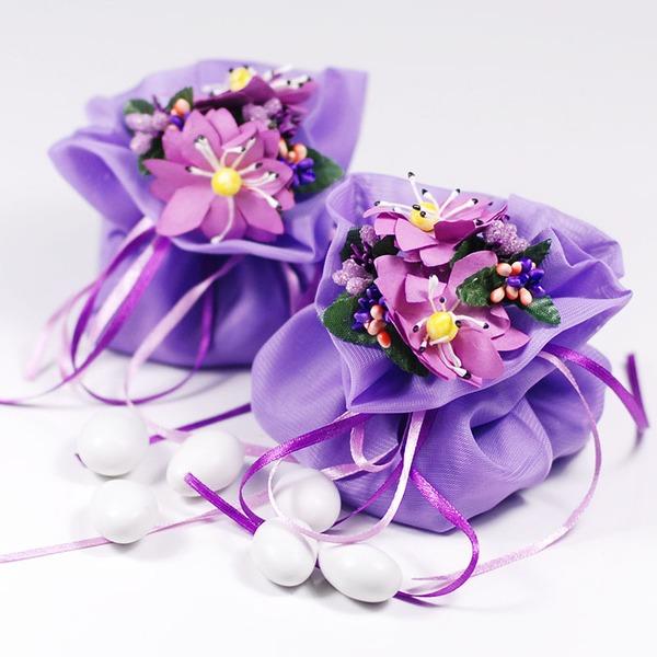 Jolie thème floral Sacs cadeaux avec Fleurs/Rubans (Lot de 12)