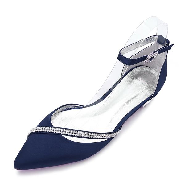 Women's Silk Like Satin Flat Heel Closed Toe Flats Sandals With Buckle