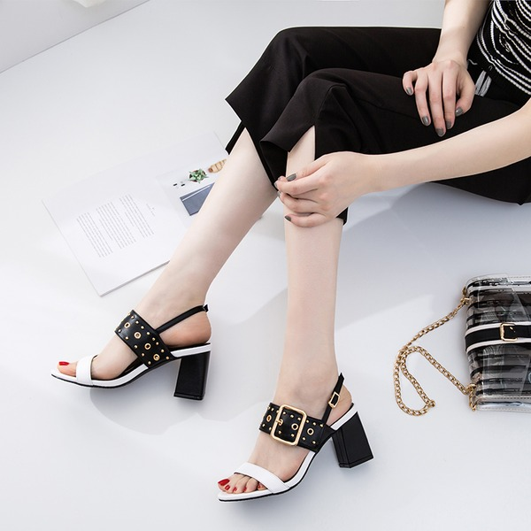 Women's PU Chunky Heel Sandals Peep Toe With Rivet Buckle shoes
