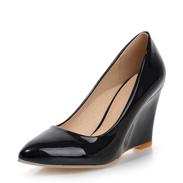 Women's Patent Leather Wedge Heel Wedges With Others shoes