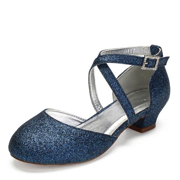 Mädchens Round Toe Geschlossene Zehe Mary Jane funkelnden Glitter Chunky Heel Blumenmädchen Schuhe mit Strass Funkelnde Glitzer