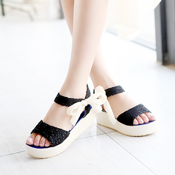 Women's Leatherette Wedge Heel Sandals Peep Toe With Stitching Lace Ribbon Tie shoes