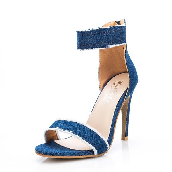 Mulheres Jean Salto agulha Sandálias Bombas Peep toe com Fivela sapatos