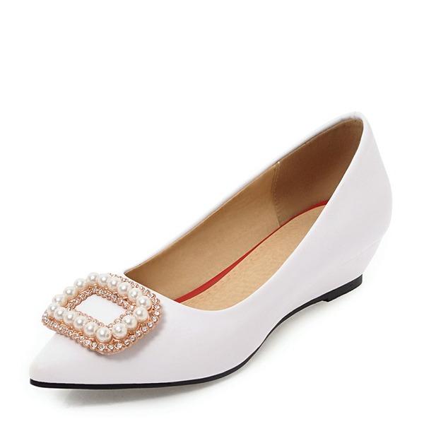 De mujer PVC Tipo de tacón Cuñas con Rhinestone Perlas de imitación zapatos