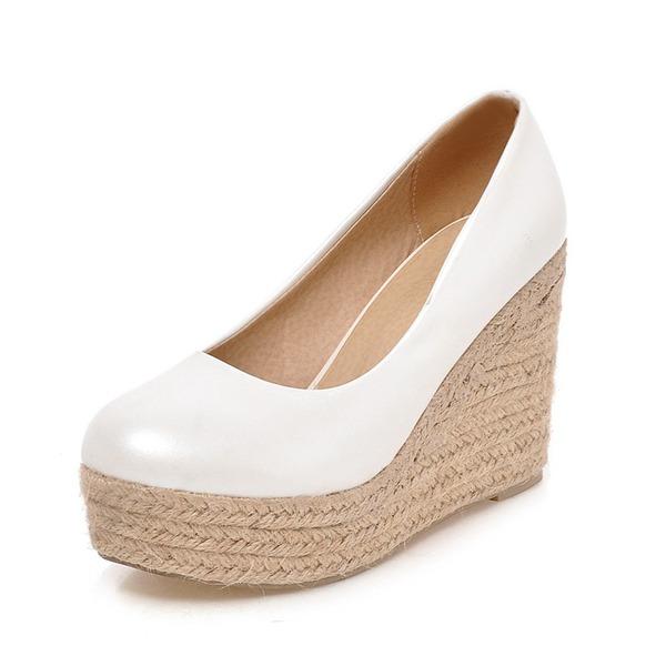Frauen Kunstleder Keil Absatz Absatzschuhe Geschlossene Zehe Schuhe