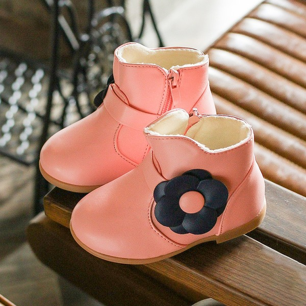 Girl's Leatherette Flat Heel Round Toe Boots With Zipper
