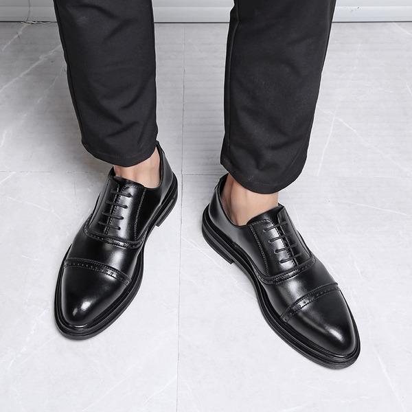 Mannen Microfiber Leer Cap Toes Vastrijgen Kleding schoenen Klassieke schoenen voor heren