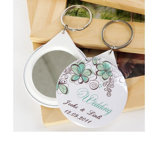 Personalized Floral Design Plastic Keychains/Compact Mirror (Set of 5)