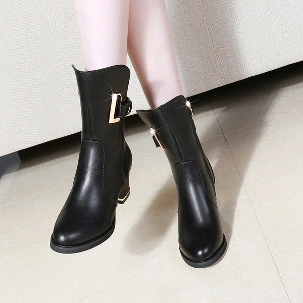 Mulheres Couro Salto robusto Fechados Botas Bota no tornozelo com Fivela sapatos