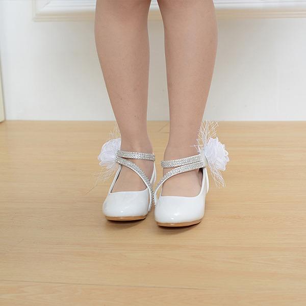 A menina de Toe rodada Fechados imitação de couro low Heel Sapatas do florista com Laço de cetim Velcro Aplicação de renda