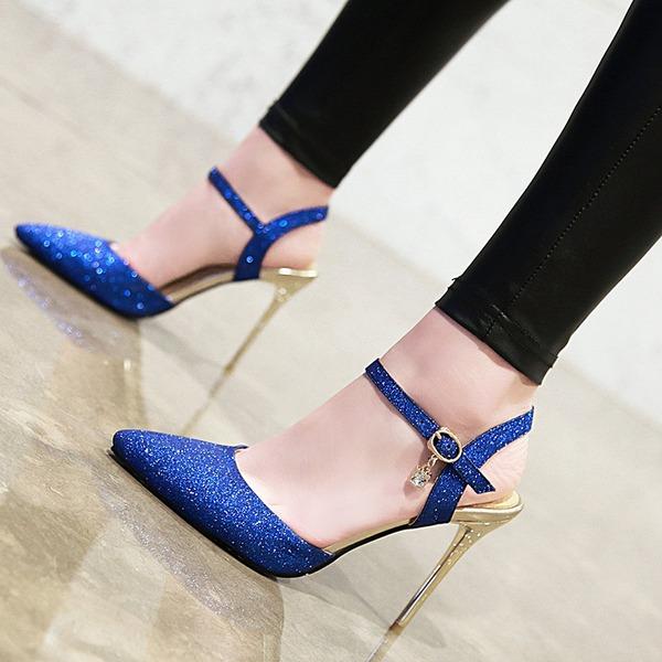 Dla kobiet Skóra ekologiczna Obcas Stiletto Sandały Czólenka Zakryte Palce Bez Pięty Z Klamra obuwie