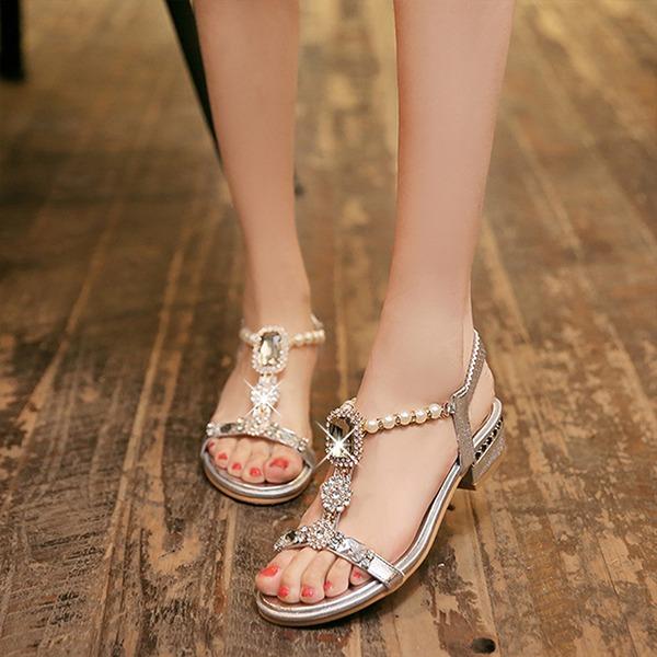 Frauen Kunstleder Flascher Absatz Sandalen mit Kristall Nachahmungen von Perlen Schuhe