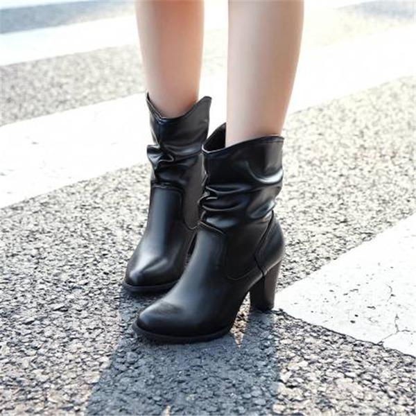 Dámské PU Široký podpatek Mid-Calf Boots S Jiní obuv