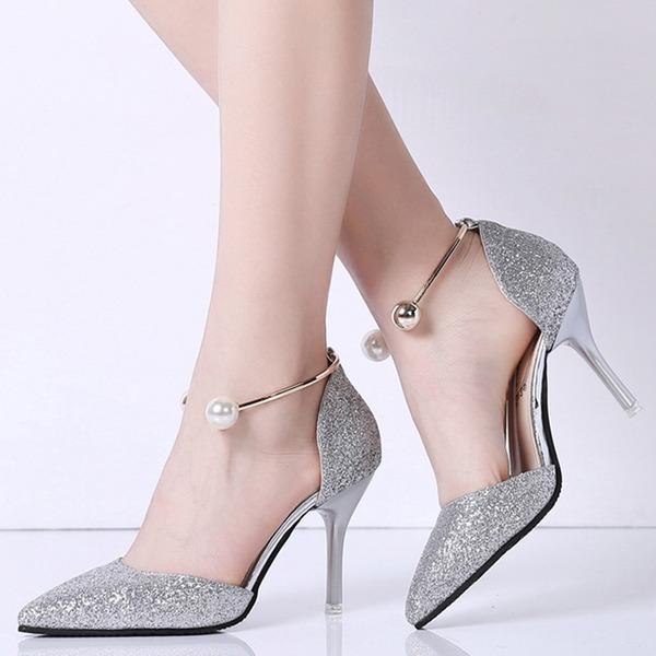 Frauen Funkelnde Glitzer Spule Absatz Geschlossene Zehe Absatzschuhe mit Perle